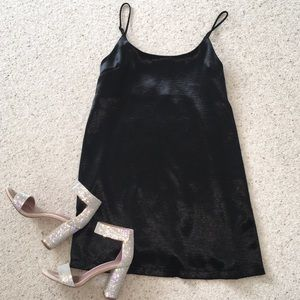 Silence + Noise Satin Black Dress Urban Outfitters